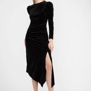 Express Velvet Ruched Side Asymmetrical Midi Dress